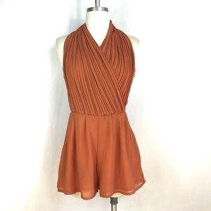 L'ATISTE Pleated Wrapped Halter Orange Romper